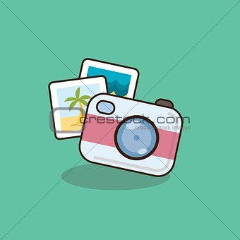 Flat style camera vector icon illustration.
