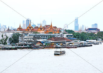 Aerial view of Grand palace with Chao Phraya river