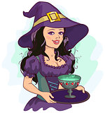 Beautiful girl witch holds potion cup on a tray