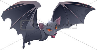 Bat with red eyes and sharp teeth
