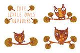 Cute little owls - dividers.