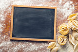 chalkboard and raw pasta