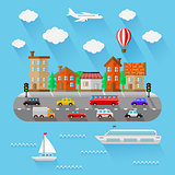 City landscape. Flat design. Vector illustration.