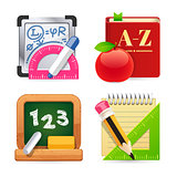 Set of School Equipment Icons