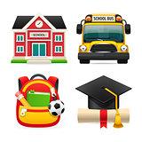 Set of Four School Icons