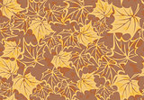 Seamless pattern with autumn leaves in a retro style.