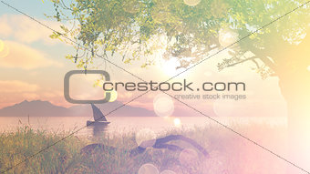 3D landscape with boat on river with vintage effect