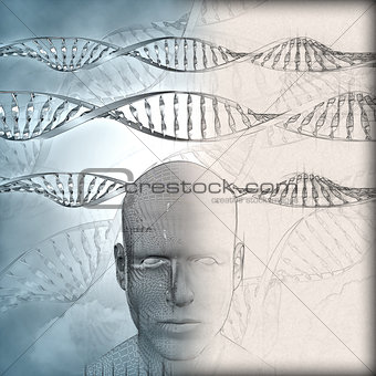 3D medical background with DNA strands and male face with some i