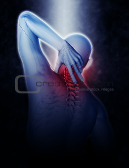 3D man holding neck in pain