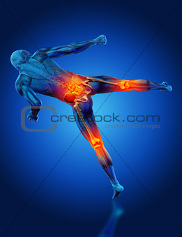 3D male medical figure in kick boxing pose with knees and spine
