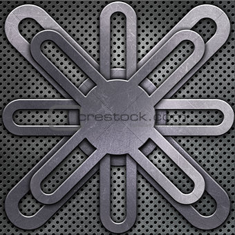 Abstract metallic design on perforated metal background