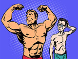 Bodybuilder and thin man sport fitness