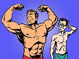 Bodybuilder and thin man sport fitness