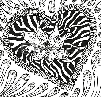 Abstract background with doodling hand drawn patterns, heart with streaks