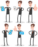 Set Flat Businessman With Tablet