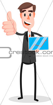 Flat Businessman Tablet Thumb
