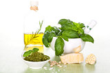 Basil pesto background.
