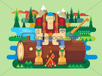 Sawyer sitting on log