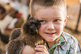 Handsome Young Boy with Show Chicken