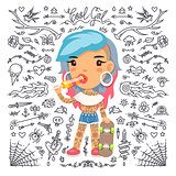 Cartoon Cute Tattoo Girl with Skateboard