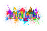 Hong Kong Skyline and Buddha Statue Splatter Color Illustration