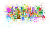 New York Skyline Paint Splatter Illustration