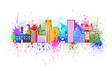 Portland Oregon Skyline Splatter Color Illustration