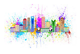 Shanghai City Skyline Splatter Color Illustration