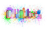 Singapore City Skyline Paint Splatter Color Illustration