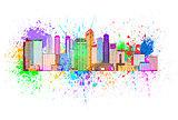 Singapore City Skyline Paint Splatter Color Illustration