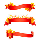 Red Autumn Ribbons and Banners