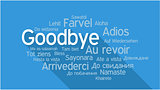 GOODBYE in different languages, word tag cloud