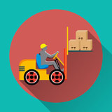 Vector forklift truck icon on round colorful buttons