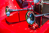 Detail of a red vintage retro beautiful car