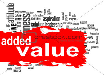 Added Value word cloud with red banner