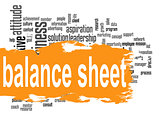 Balance sheet word cloud with orange banner