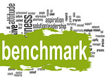 Benchmark word cloud with green banner