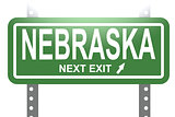 Nebraska green sign board isolated