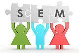 SEM - Search Engine Marketing puzzle in a line