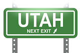Utah green sign board isolated