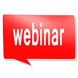 Webinar word on red speech bubble