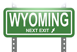 Wyoming green sign board isolated
