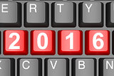 Year 2016 button on modern computer keyboard