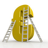 Yellow euro sign with ladder
