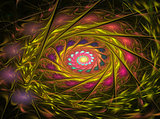 Abstract fractal multicolored spiral