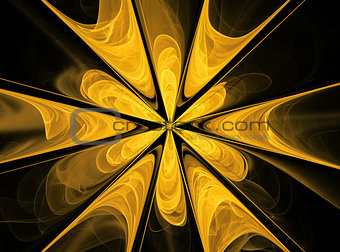 Abstract fractal yellow flower