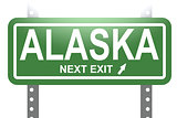 Alaska green sign board isolated