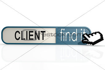 Client word on the blue find it banner