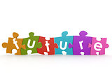 Colorful puzzle with future word