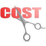 Cut red cost word with scissor